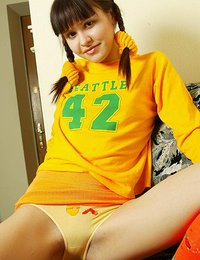 Sexy thin teen coed takes her uniform to show her perfect body.